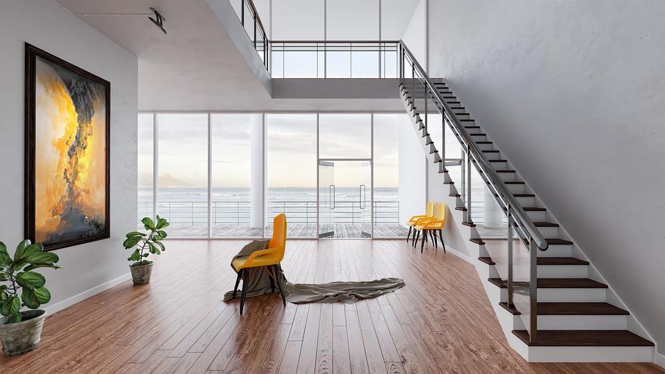 Eine Holztreppe